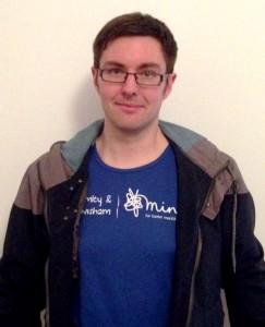 Photo of Dan Edmundson in his Bromley & Lewisham Mind t-shirt, in preparation for the Virgin Money London Marathon 2015