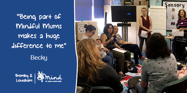 "Quote from Becky: ""Being part of Mindful Mums makes a huge difference to me"" image"