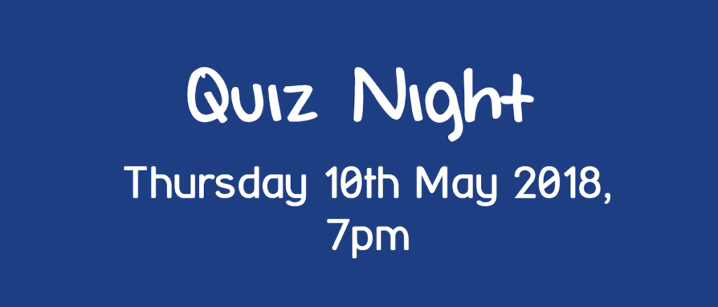 Fundraising Quiz Night May 2018 text image