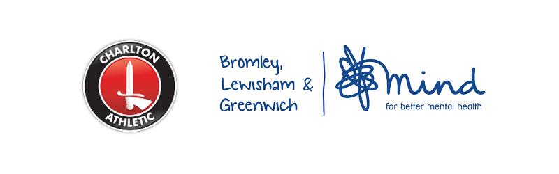 Charlton Athletic and Bromley, Lewisham & Greenwich Mind logos