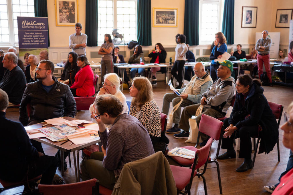 People sitting and listening at Bromley World Mental Health Day 2019 event